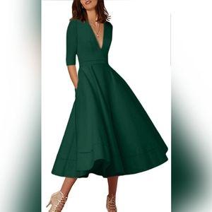 Vintage Deep V Neck Cocktail Maxi Dress 3/4 Sleeve